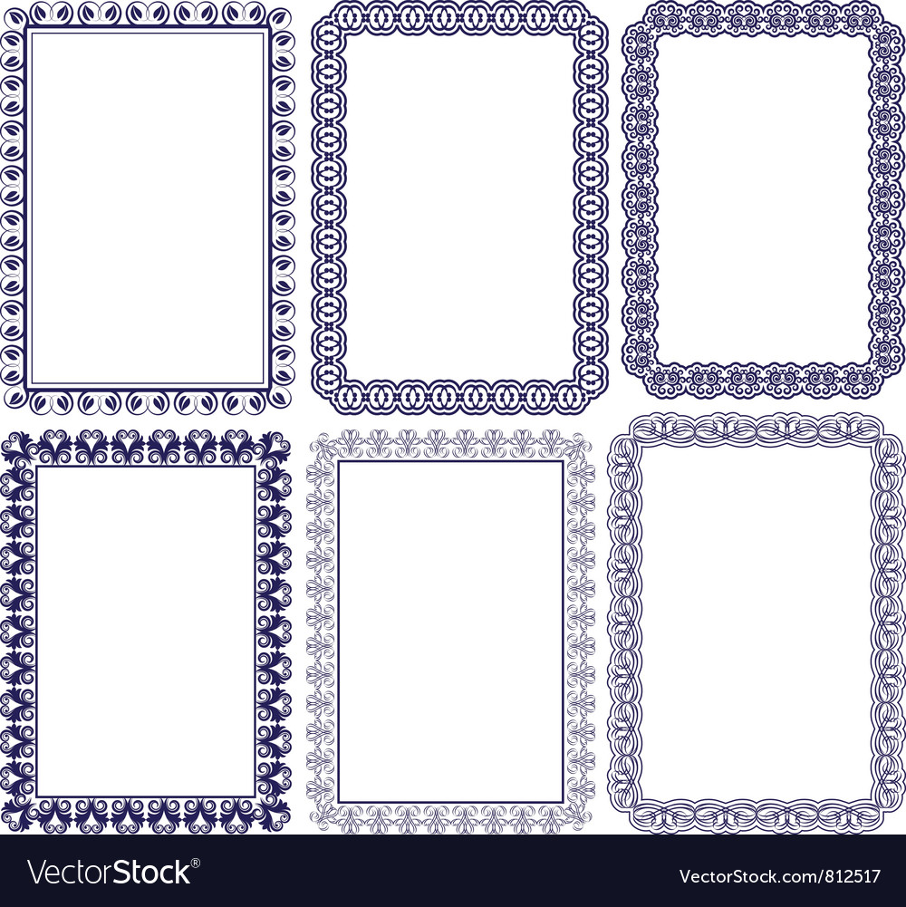 Rectangular frame with embellishments vector
