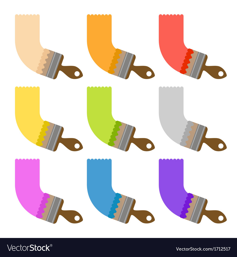 Set of brushes with different paint vector