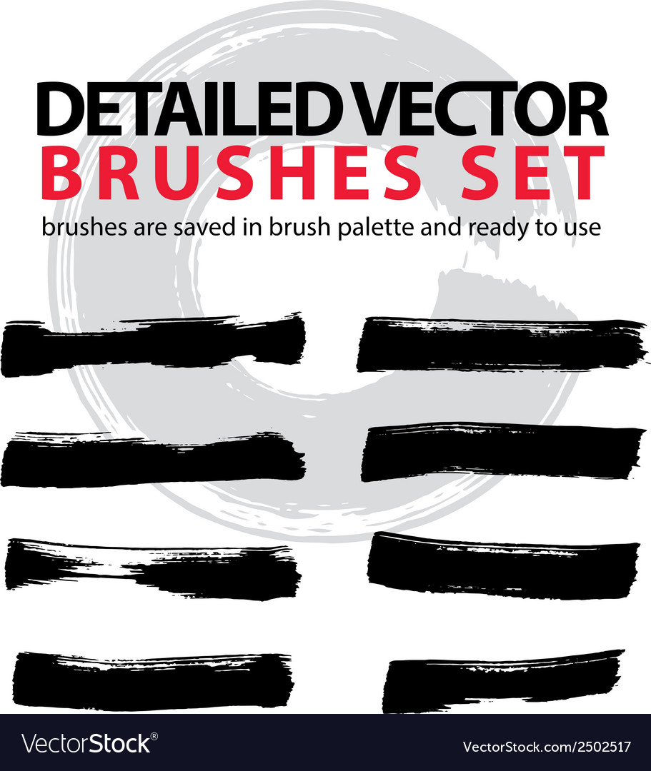 Set of highly detailed brush strokes object vector