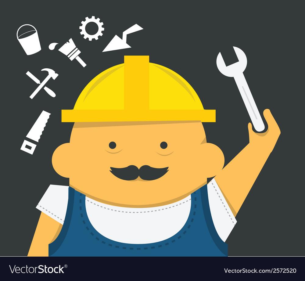Engineer with instrument in construction helmet vector