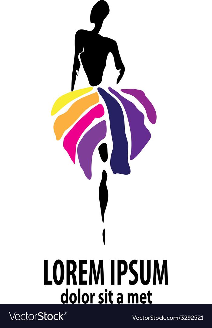 Shop logo fashion girl vector