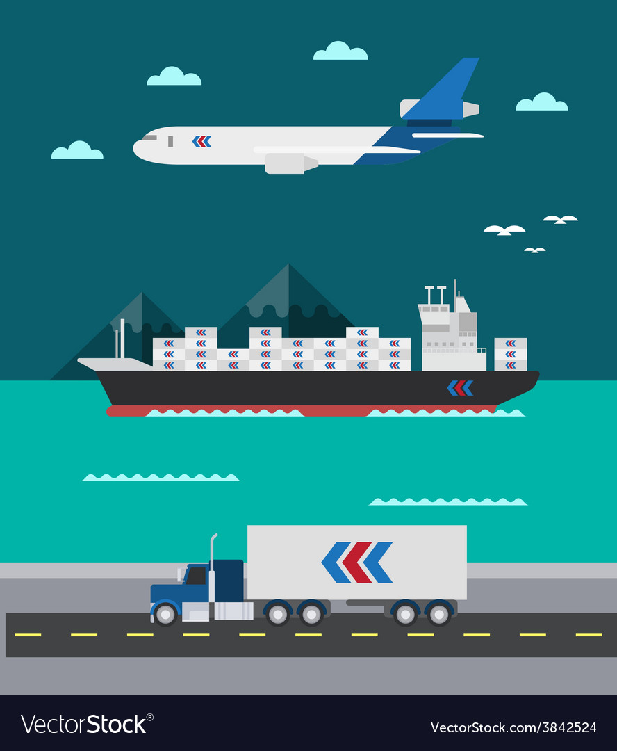 Flat design of cargo transportation sea air land vector