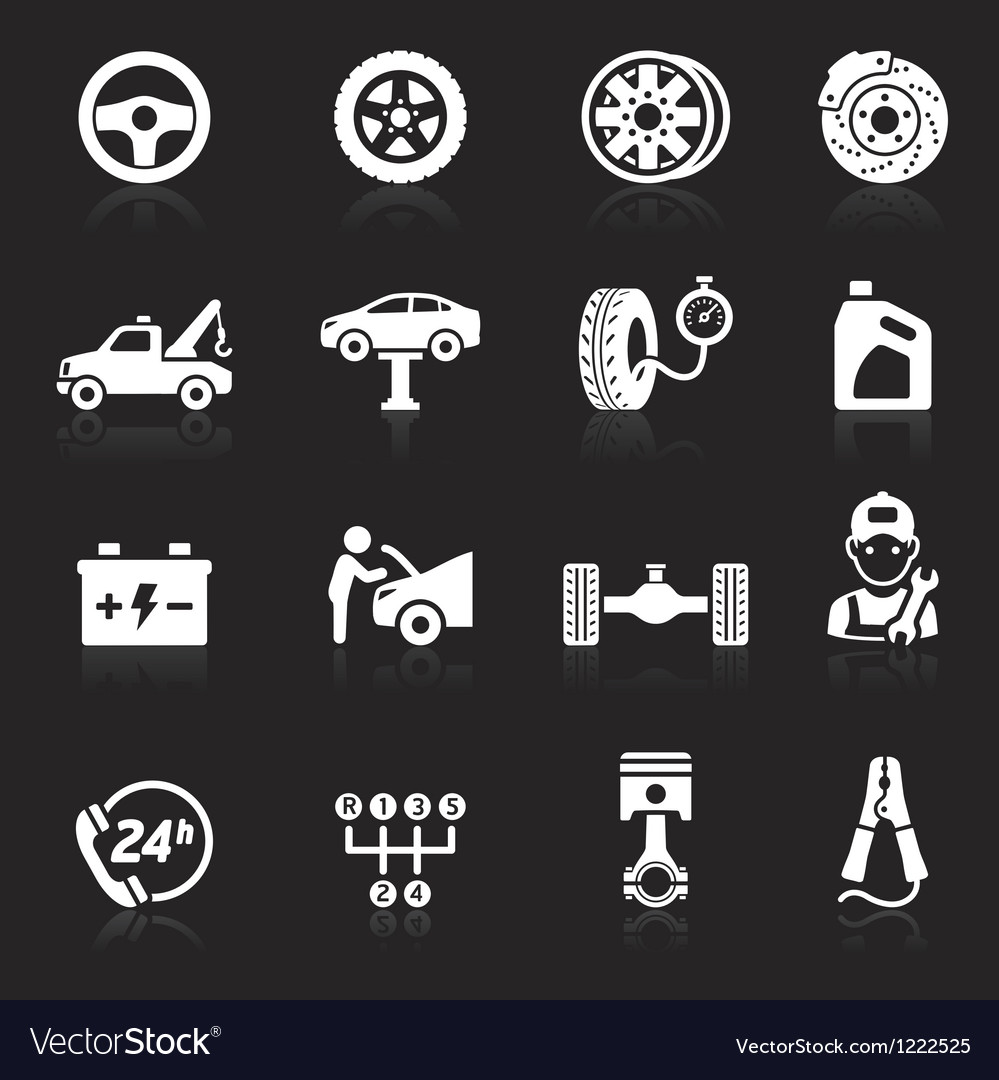 Car service maintenance white icon vector