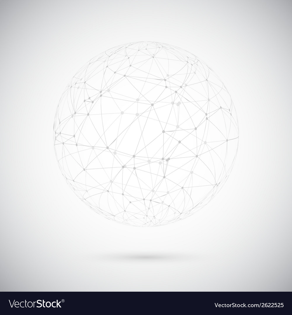 Global network lines with dots connection vector