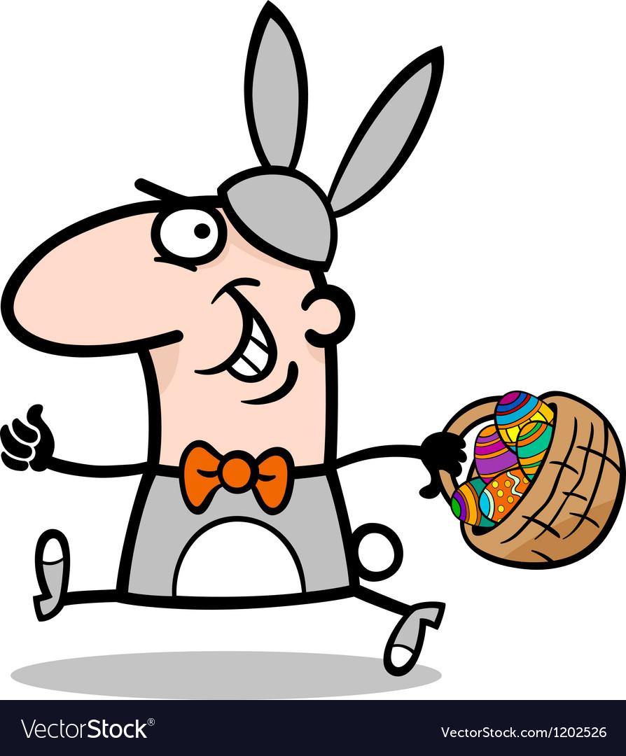 Man in easter bunny costume cartoon vector