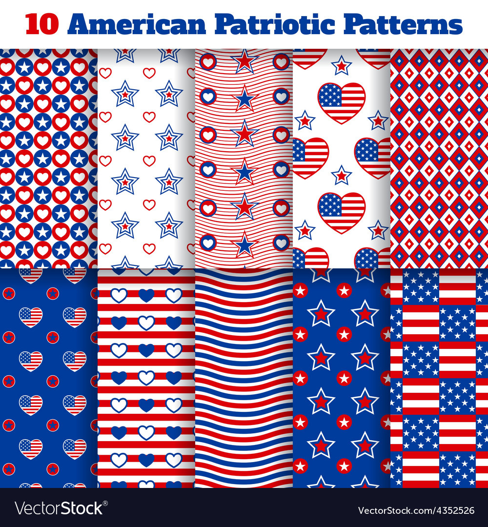 Set of american seamless patterns vector