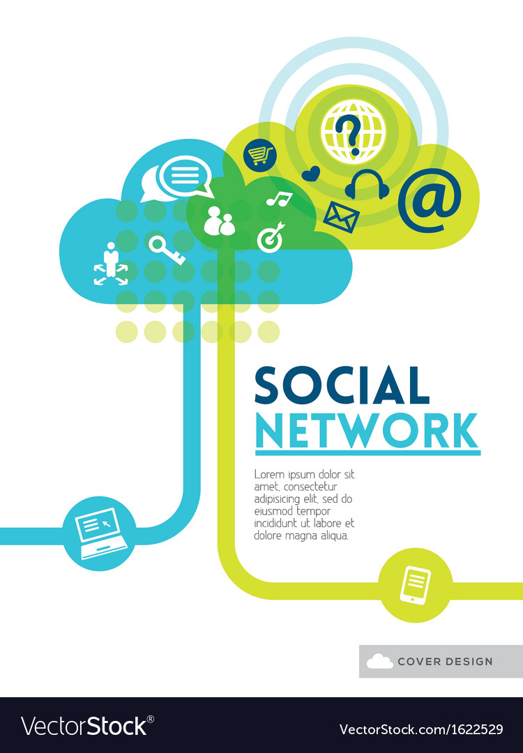 Cloud social media network concept background vector