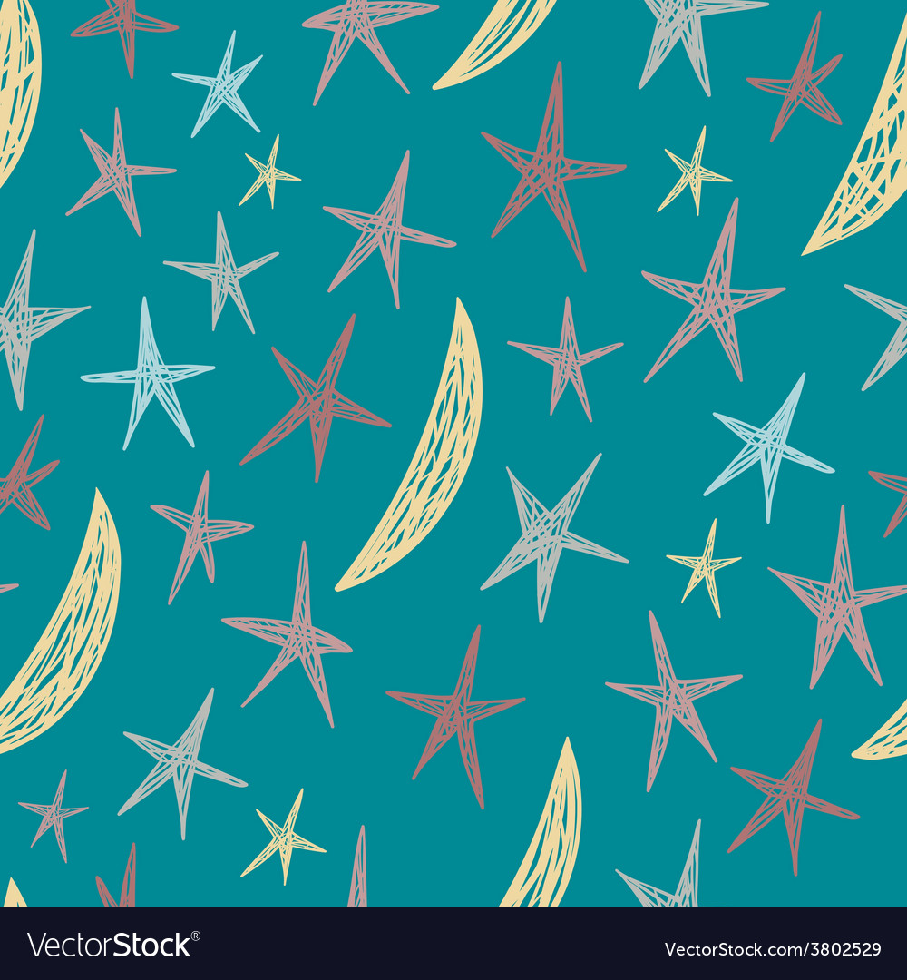 Seamless pattern with hand drawn stars and moons vector