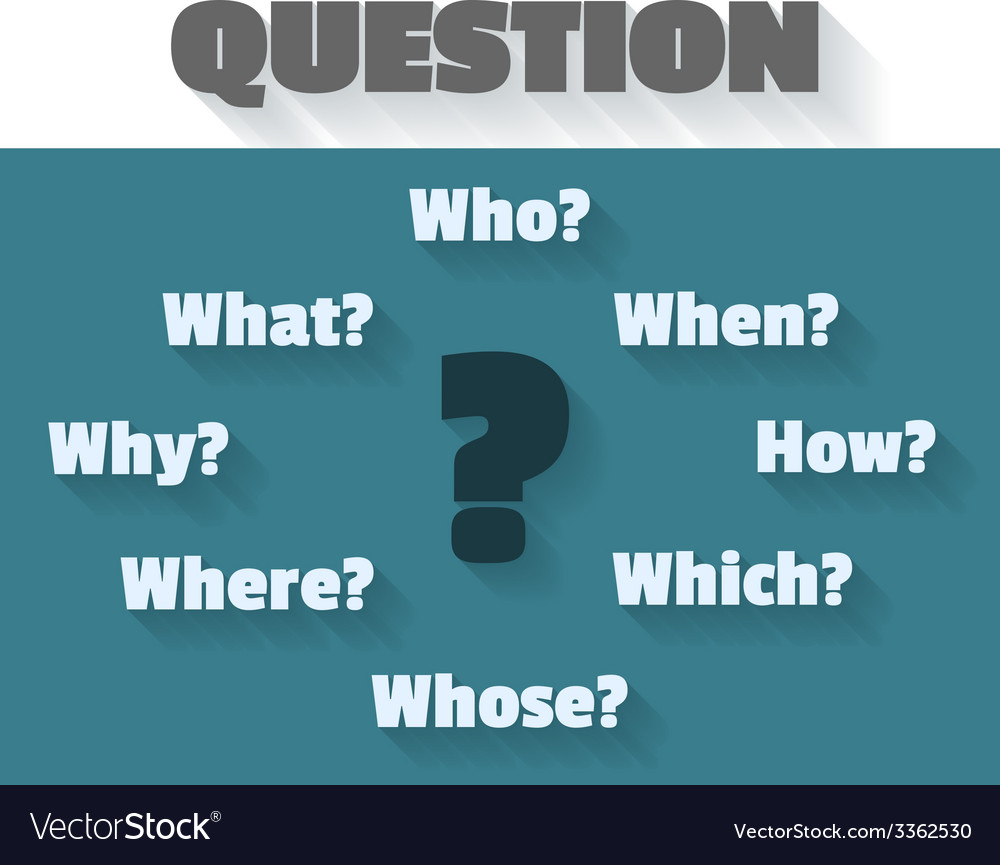 Question marks and words - who how when which why vector