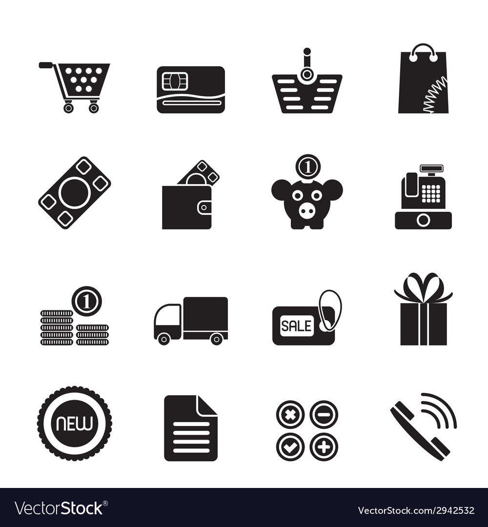 Silhouette online shop icons vector