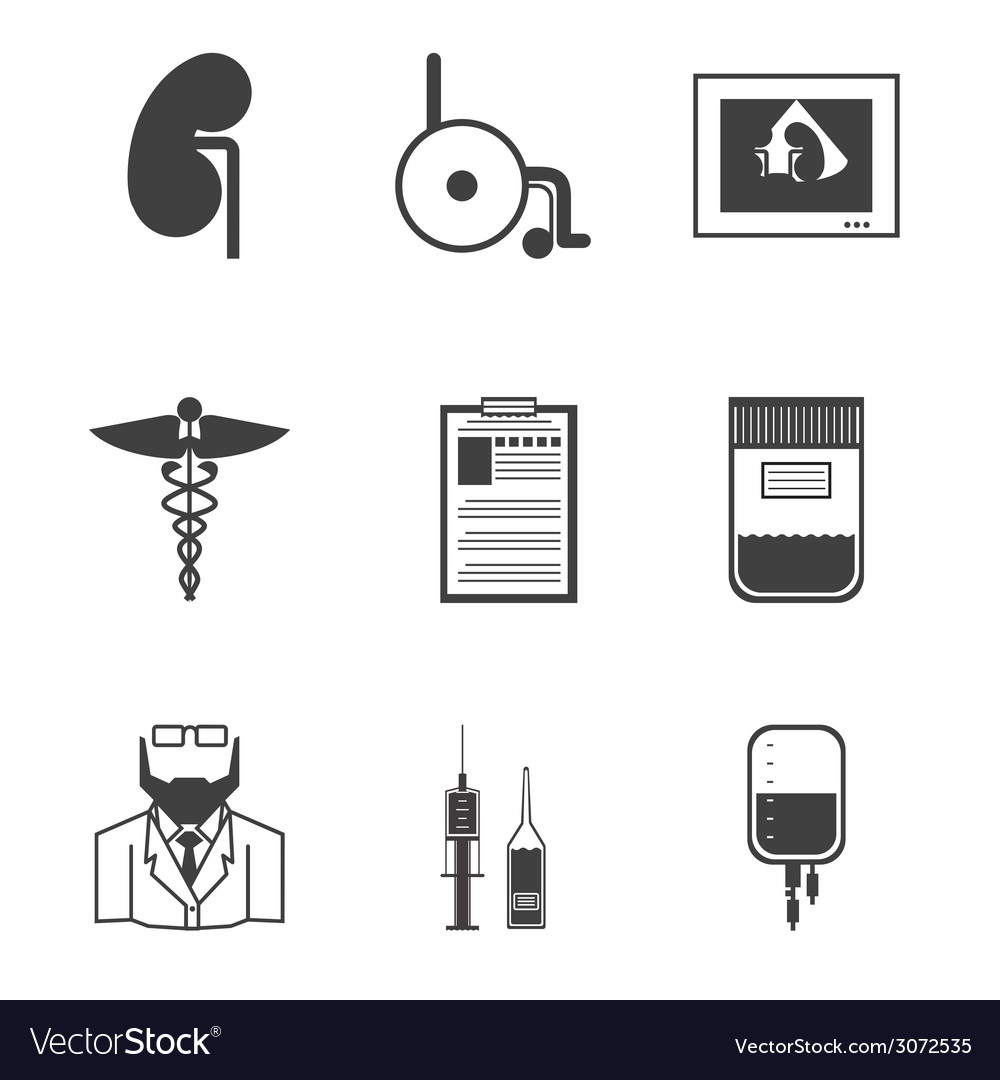 Black icons for nephrology vector