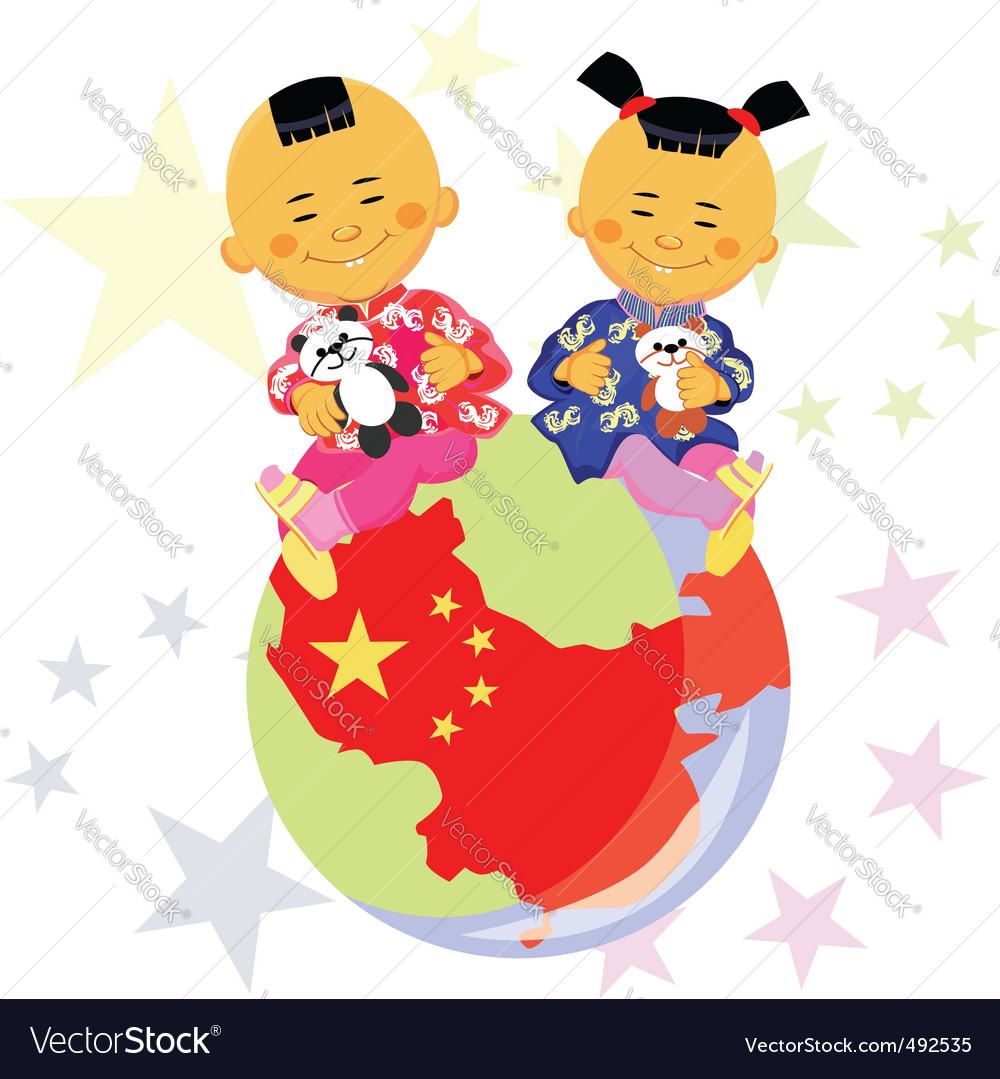 Chinese boy and girl vector