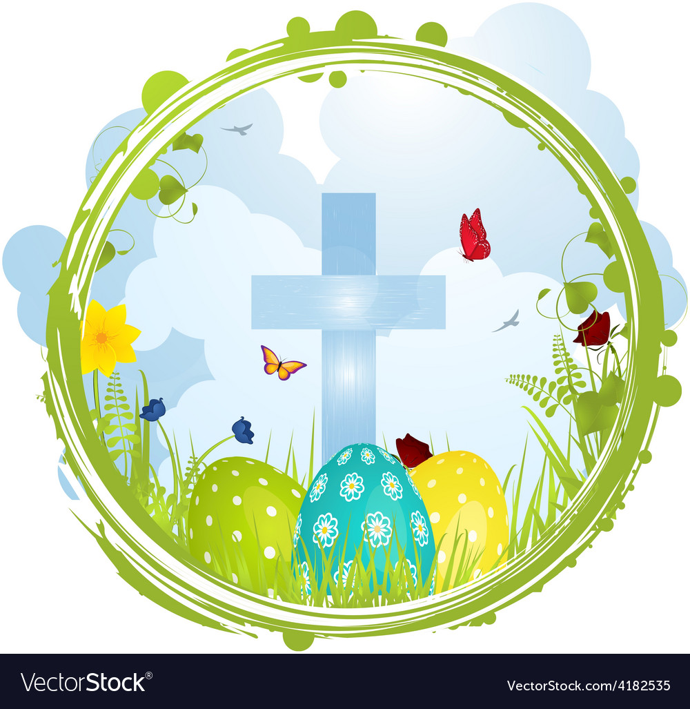 Easter border with cross and eggs vector