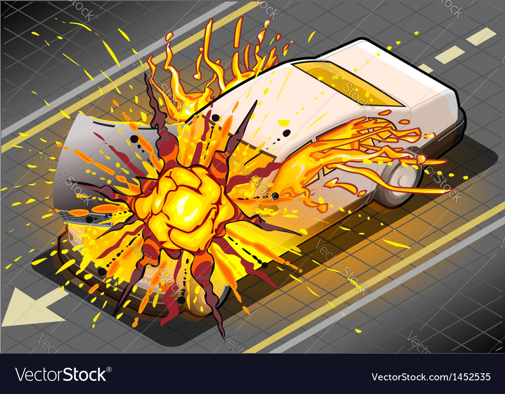 Isometric white car in explosion in vector