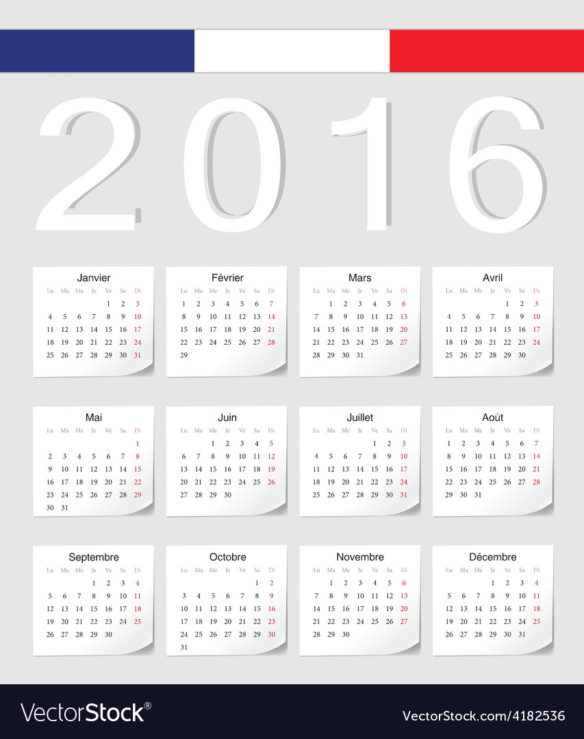 French 2016 calendar with shadow angles vector
