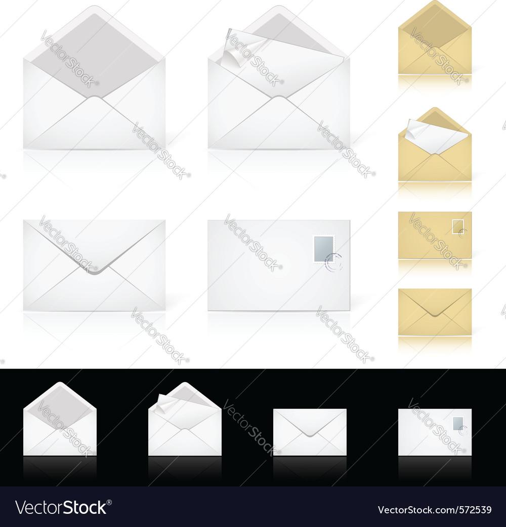 Envelope mail set vector
