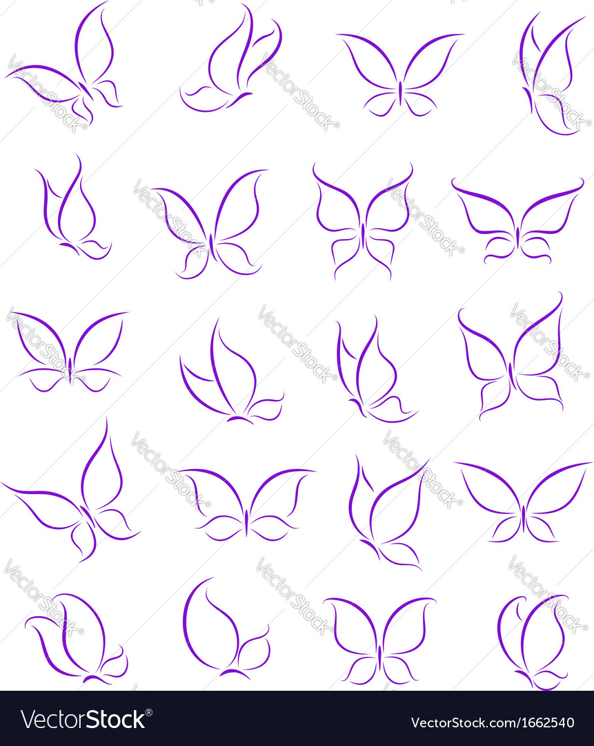 Butterfly silhouettes set vector