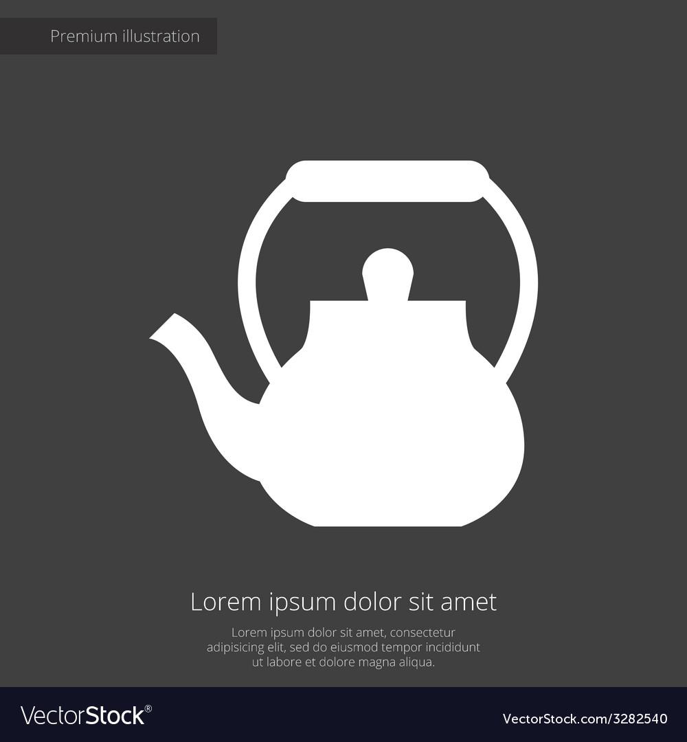 Teapot premium icon white on dark background vector