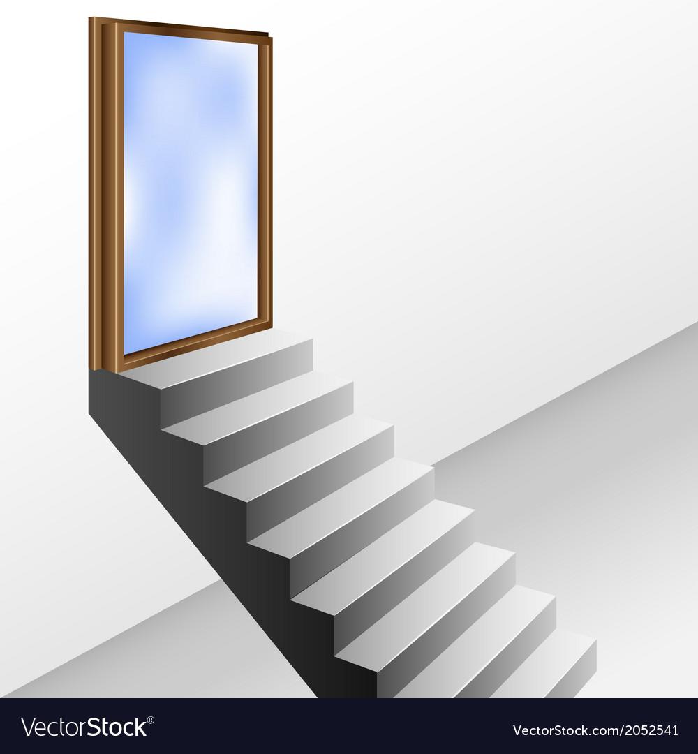 Open door with stairs vector