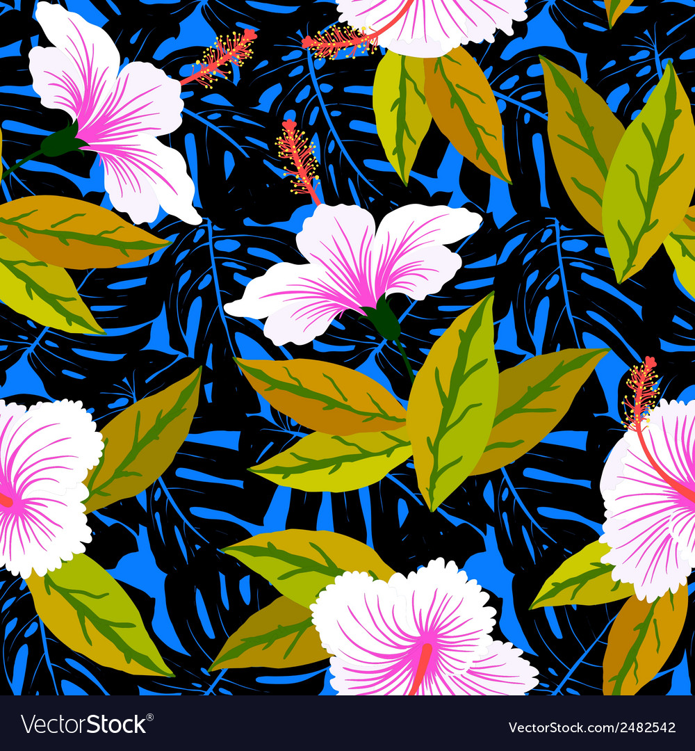 Tropical pattern with hibiscus flowers vector