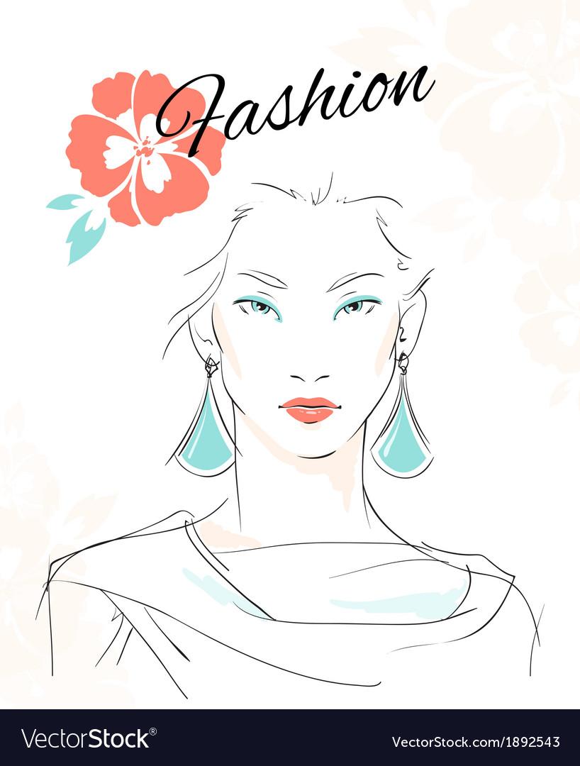 Fashion portrait of sensual woman vector