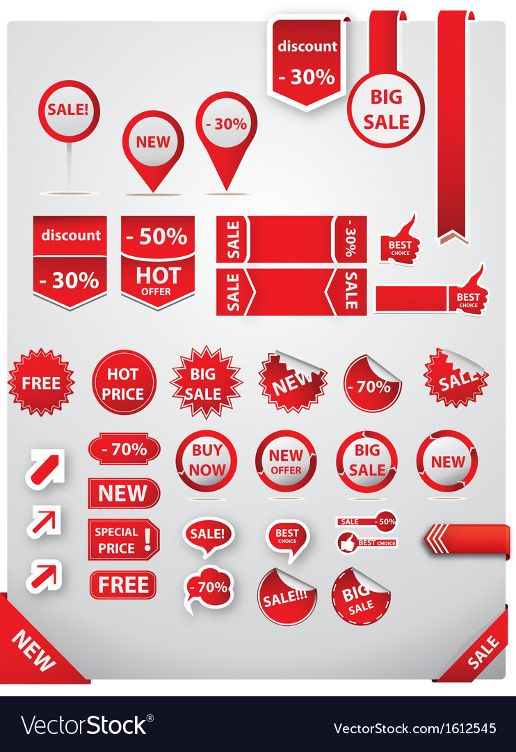 Sale tags and labels set vector