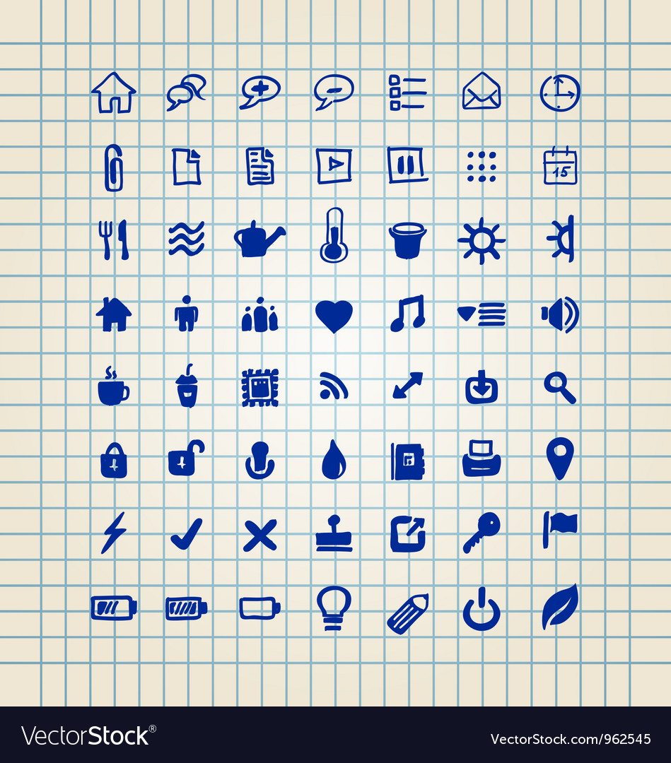 Set of hand drawn icons vector