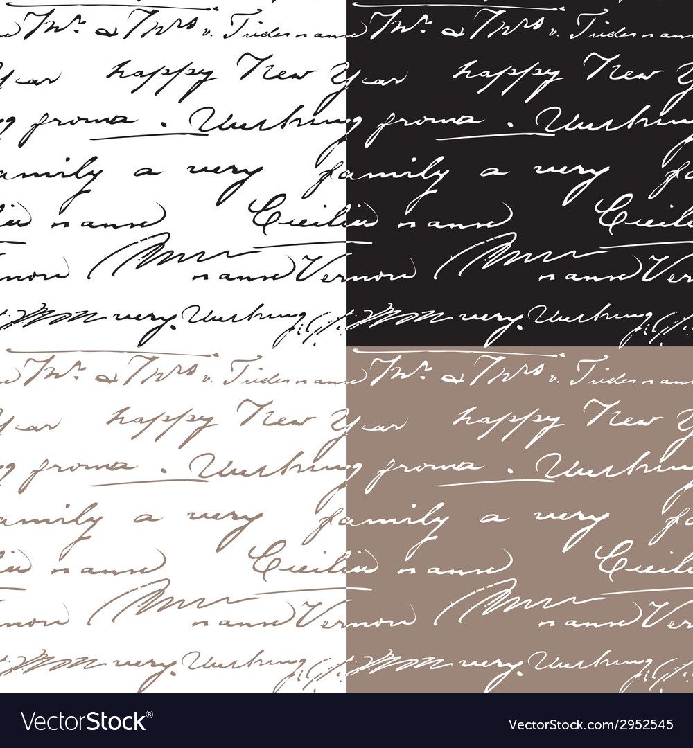 Set of samless patterns with handwriting text vector