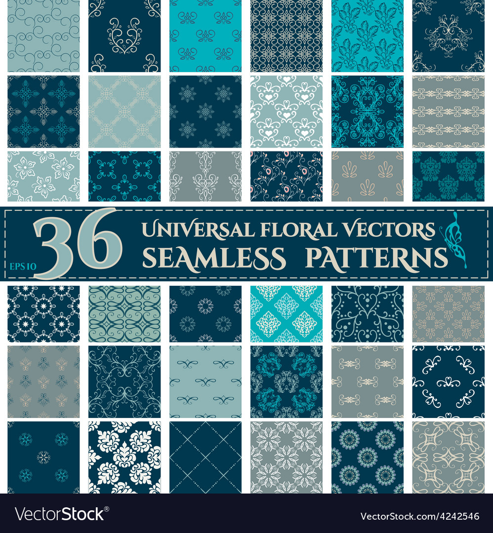 Set of seamless backgrounds with vintage floral vector