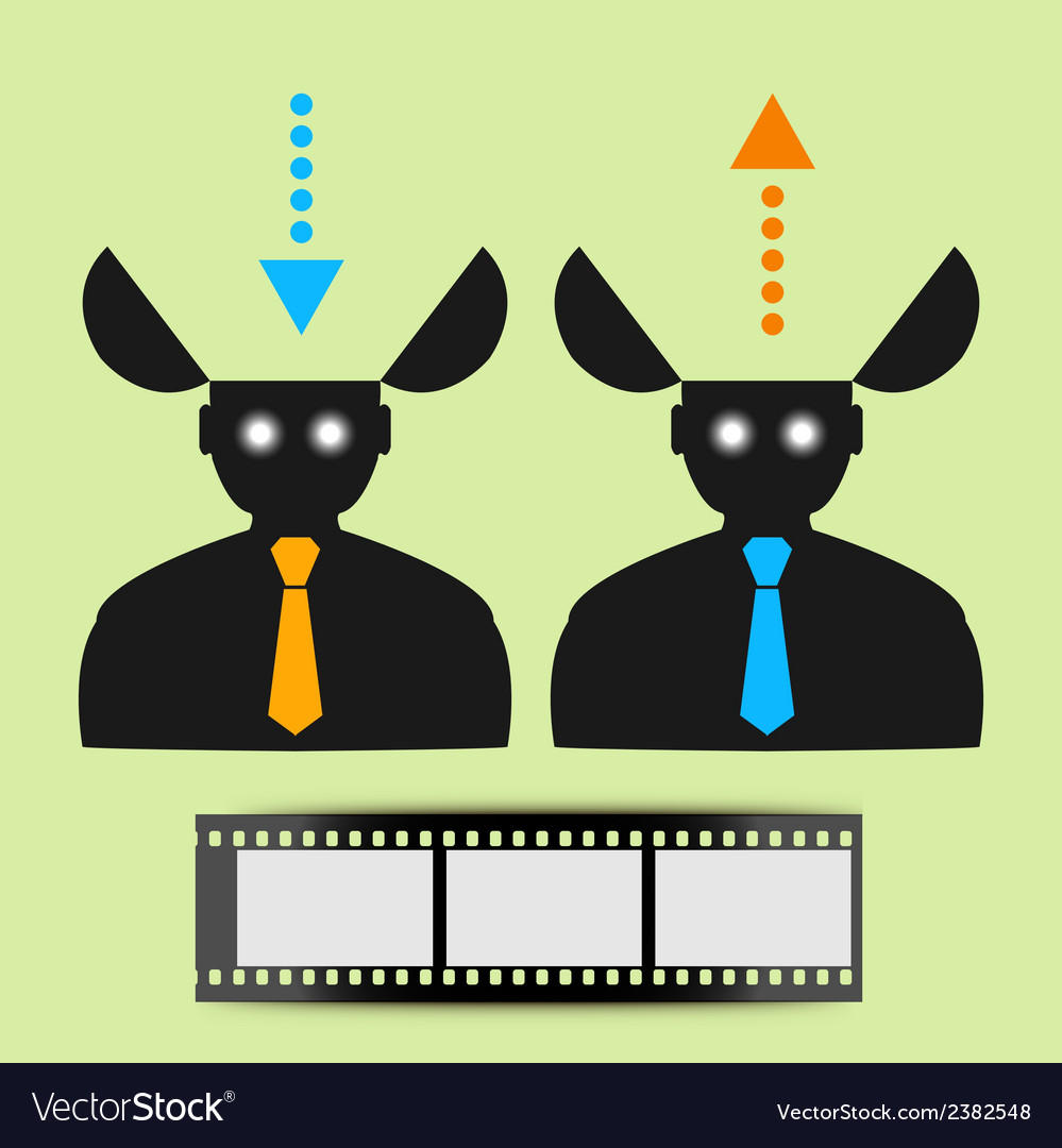 Abstract icon man watching movies vector