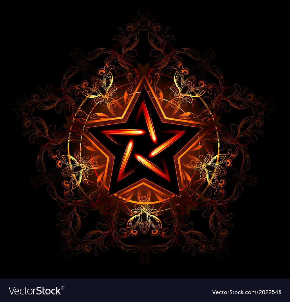 Mystical fiery star vector