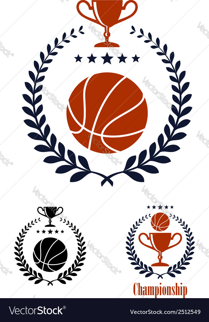 Basketball sporting emblems and symbols vector
