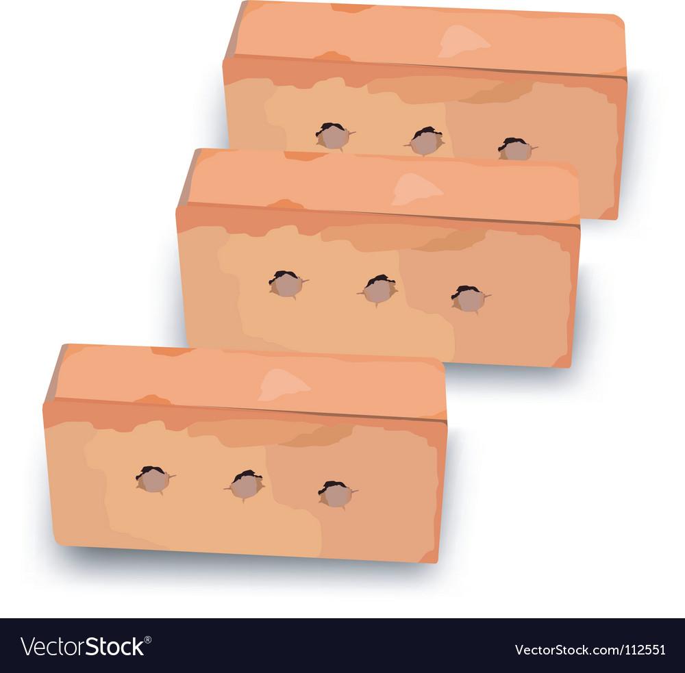Three red bricks vector