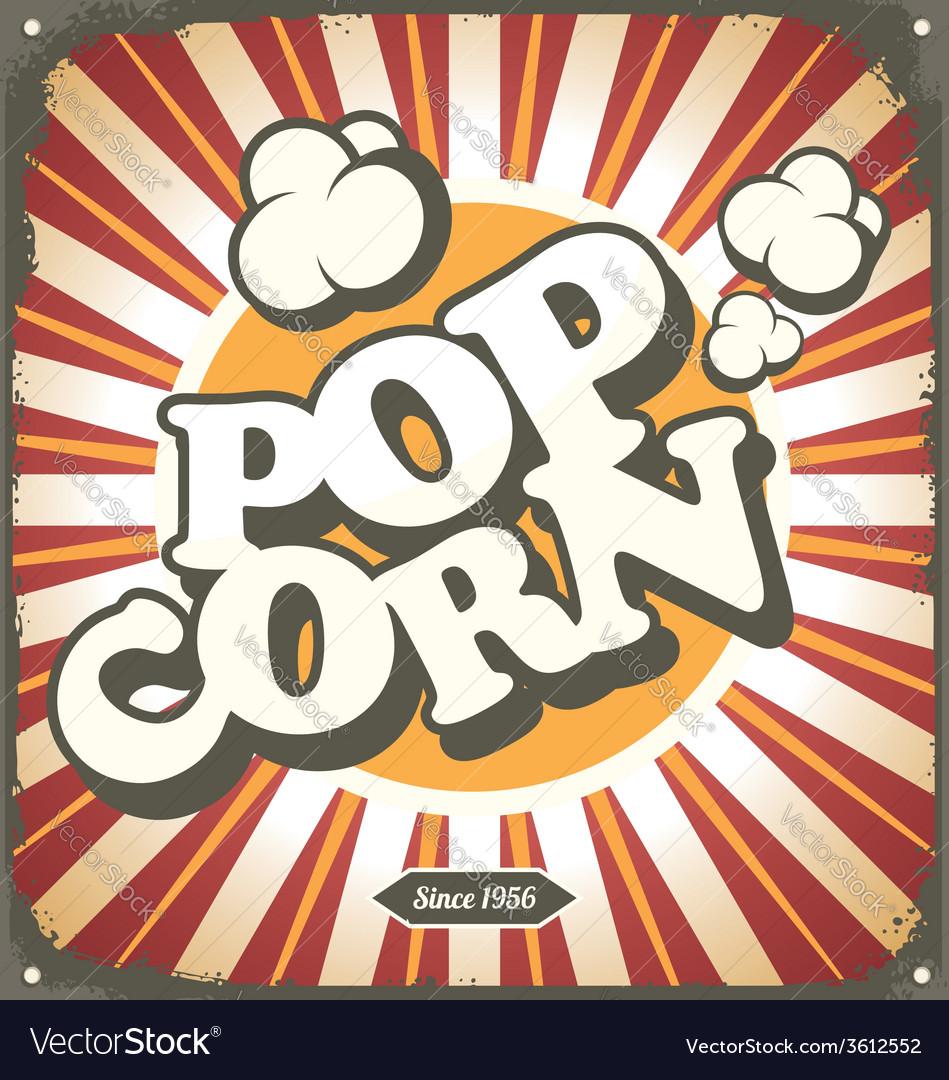 Pop corn retro design tin sign vector