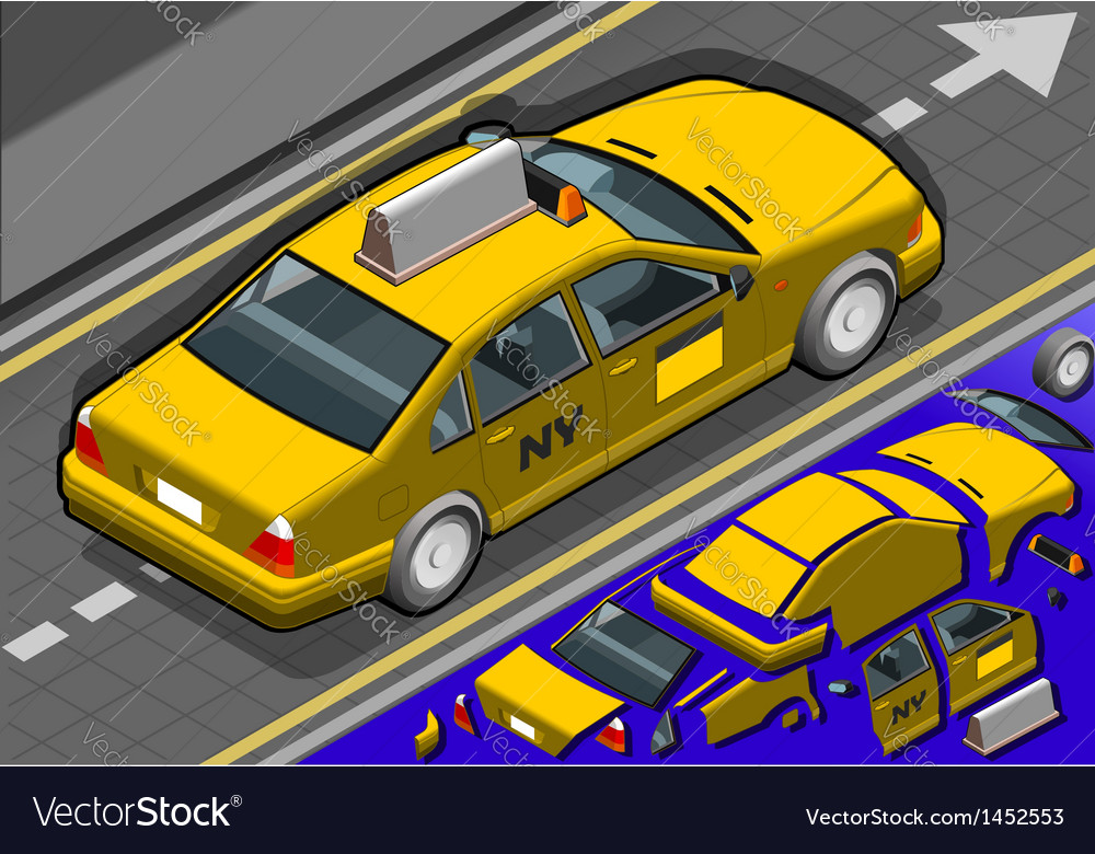 Isometric yellow taxi in rear view vector
