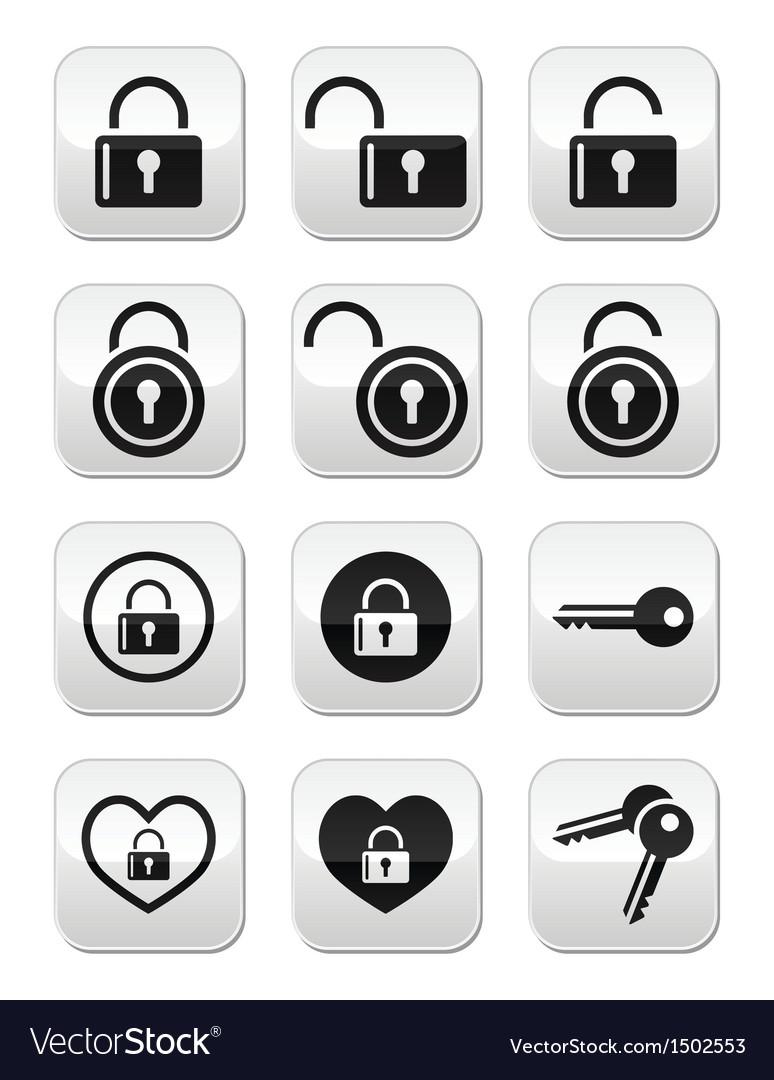 Padlock key buttons set vector