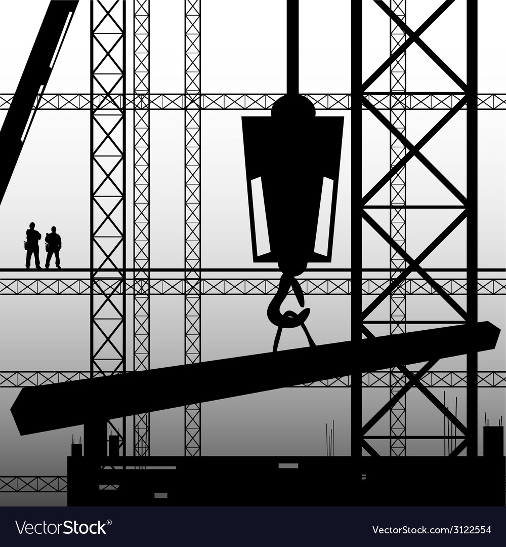 Construction worker supervise the work vector