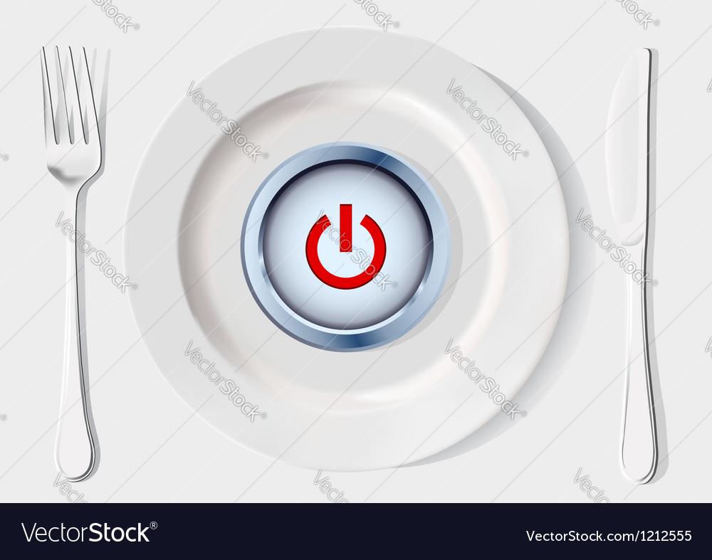 Button inside dish vector