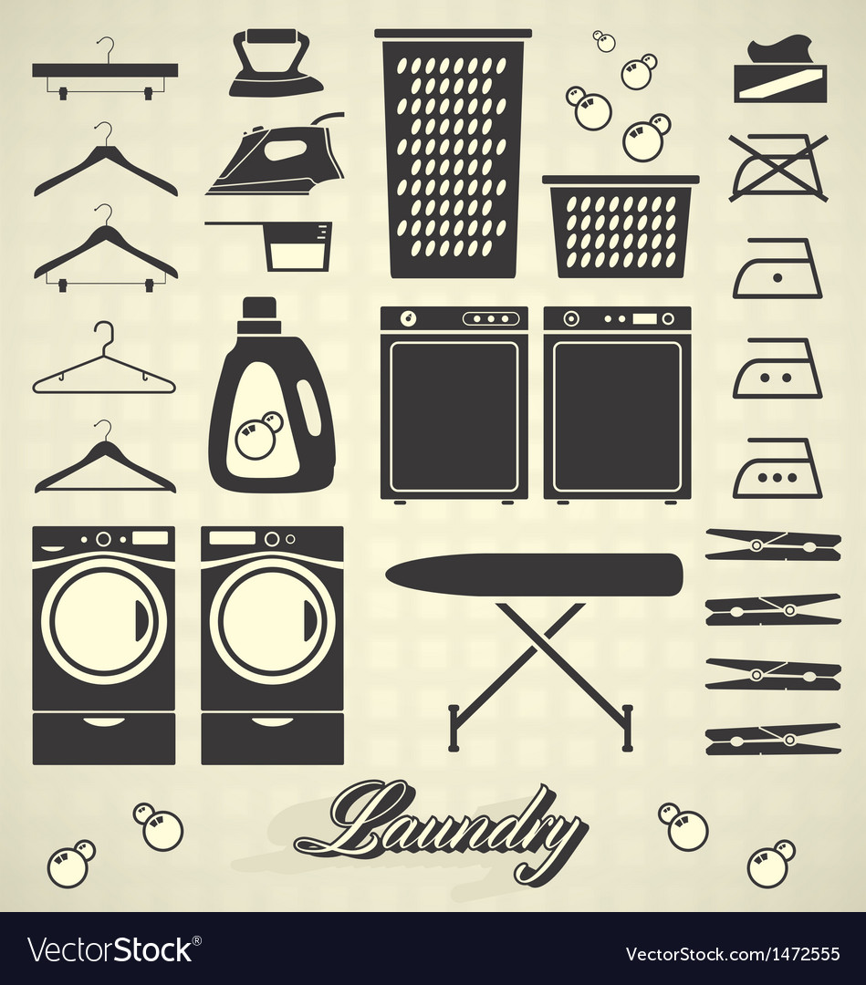 Retro laundry room labels and icons vector