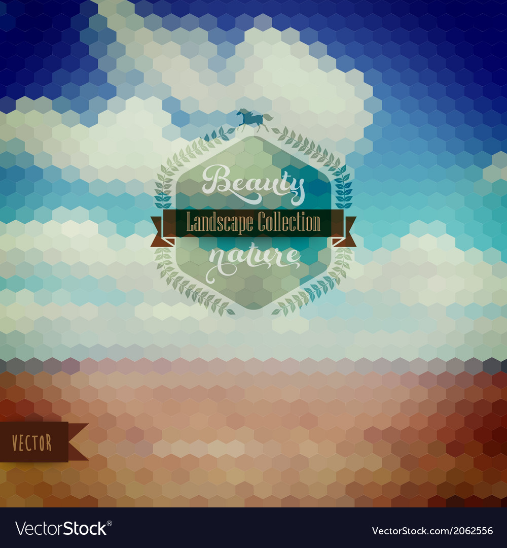 Cornfield in golden sunlight with hipster badge vector