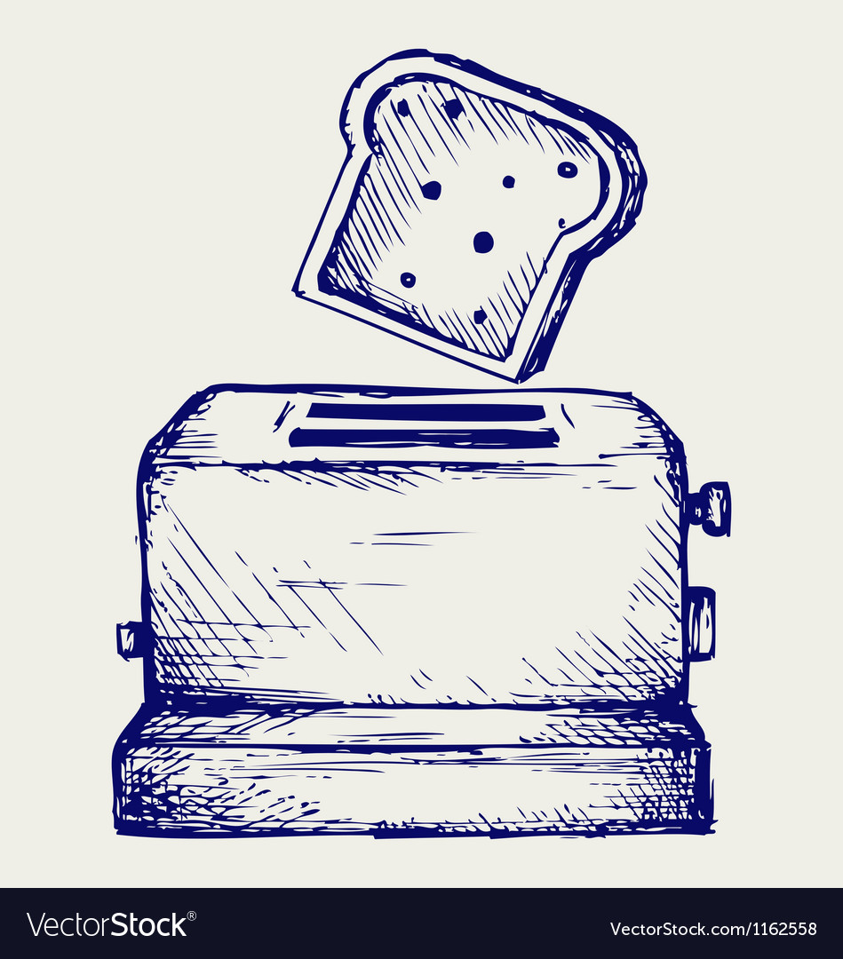 Toast popping out of a toaster vector