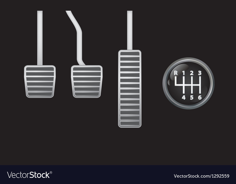Pedals and gear knob vector