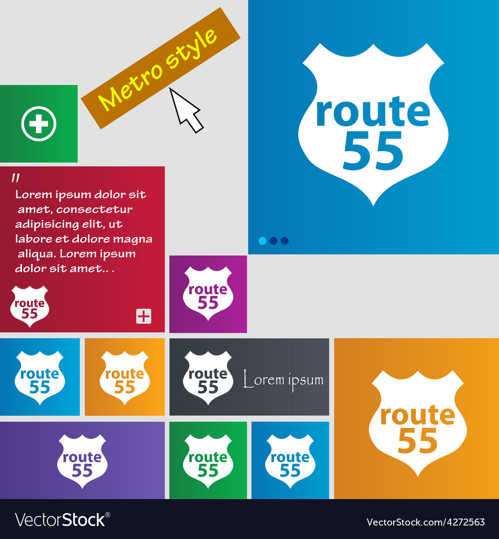 Route 55 highway icon sign metro style buttons vector