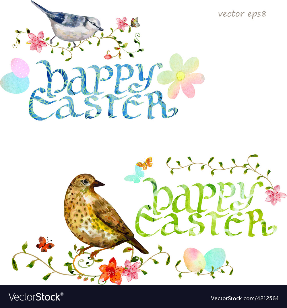 Collection invitation cards with happy easter vector