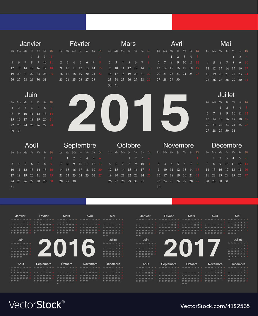 Black french circle calendars 2015 2016 2017 vector