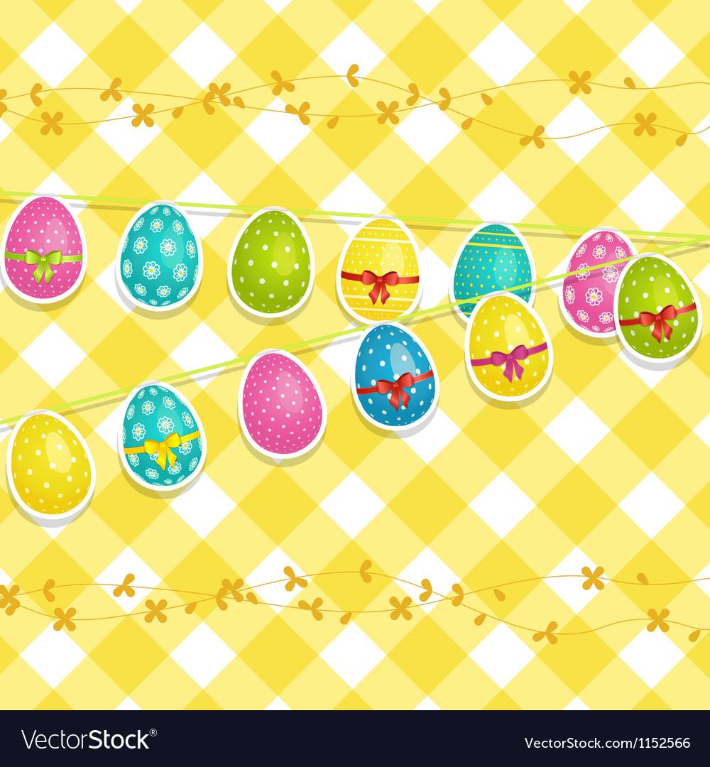 Hanging easter egg background vector