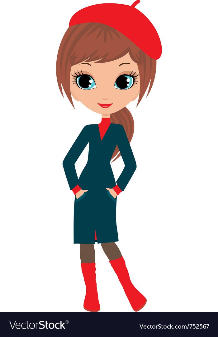 Woman cartoon in a coat vector