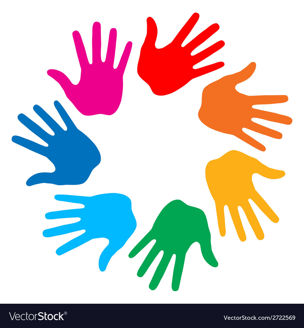 Hand print icon 7colors vector