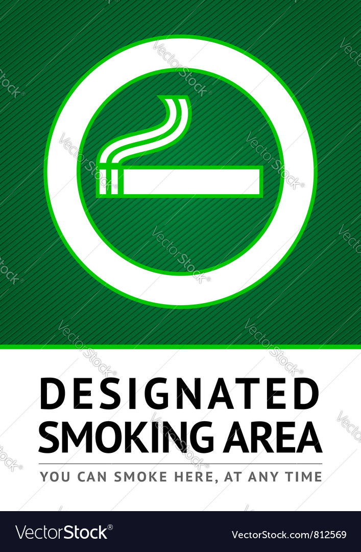 Label smoking place sticker vector