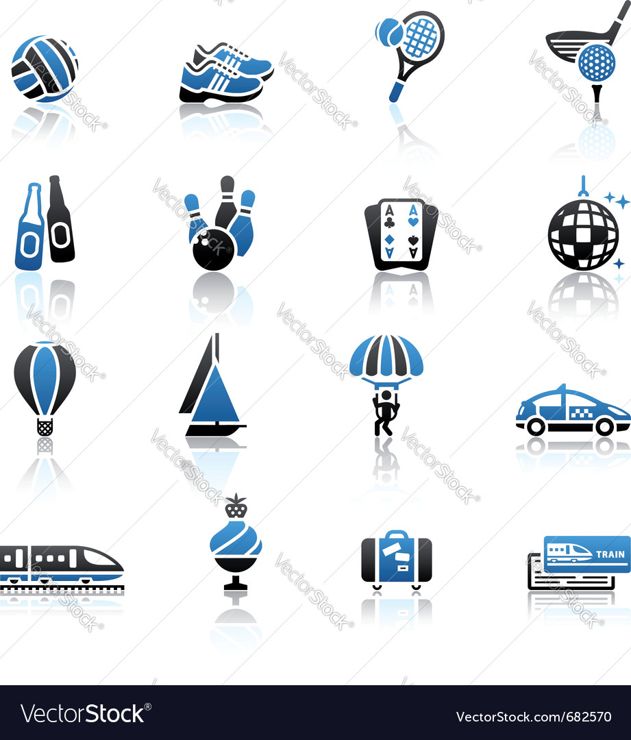 Recreation vacation  travel icons set vector